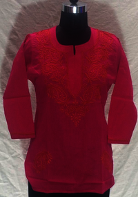 Pink Embroidery Kurti For Ladies