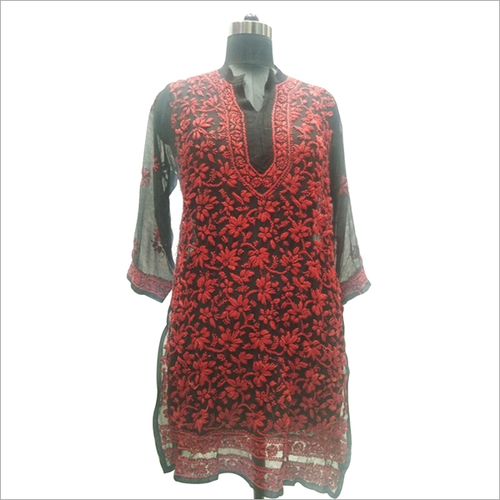 Ladies Lucknowi chikan Embroidery Kurti