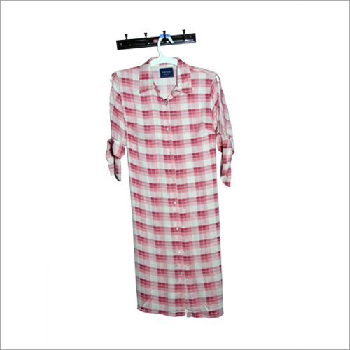 Ladies Long Checked Shirt