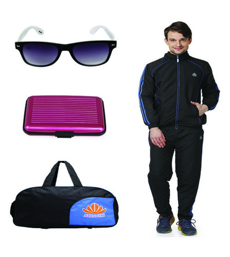 Mens Track suit & Duffle bag combo(black&blue)