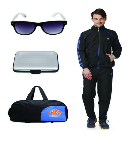 Mens Track suit & Duffle bag Combo(black&white)