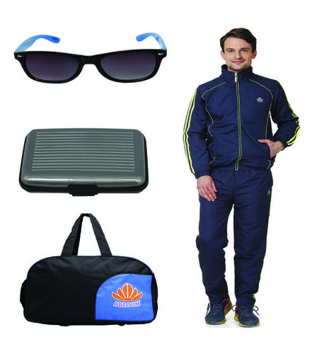 Mens Track suit & Duffle bag Combo (nevy&green)