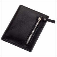 Black Genuine Leather Gents Wallet With Silver Zip