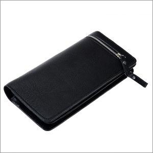 Black Genuine Leather Ladies Wallet With Silver Zip
