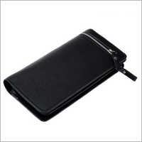 Black Genuine Leather Ladies Wallet With Silver Zip