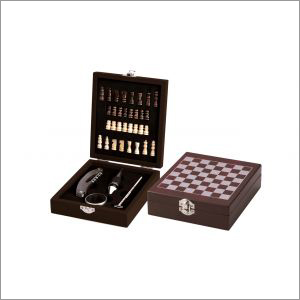 Wooden Chess Board Game with Wine Gift Set