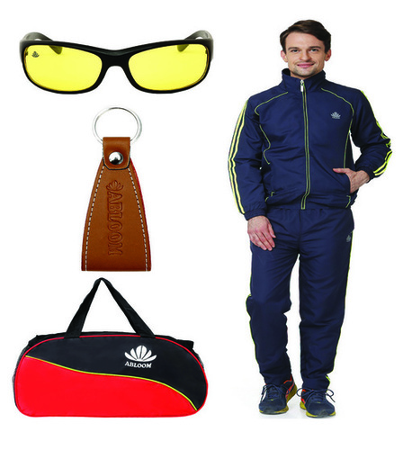 Mens Track suit & Duffle Bag Combo (nevy & green)
