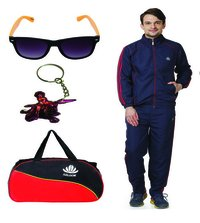 Mens Track suit & Duffle bag Combo (nevy & red )