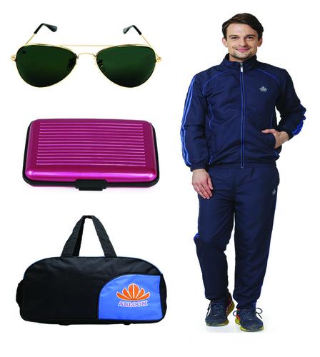 Mens Track suit & Duffle bag Combo (nevy&blue)