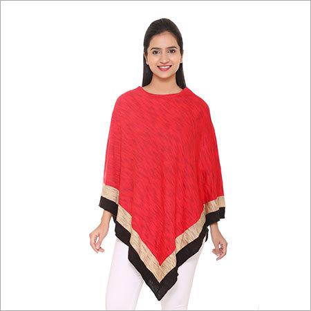 V-shape Red poncho
