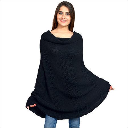 Ladies Round Black Poncho