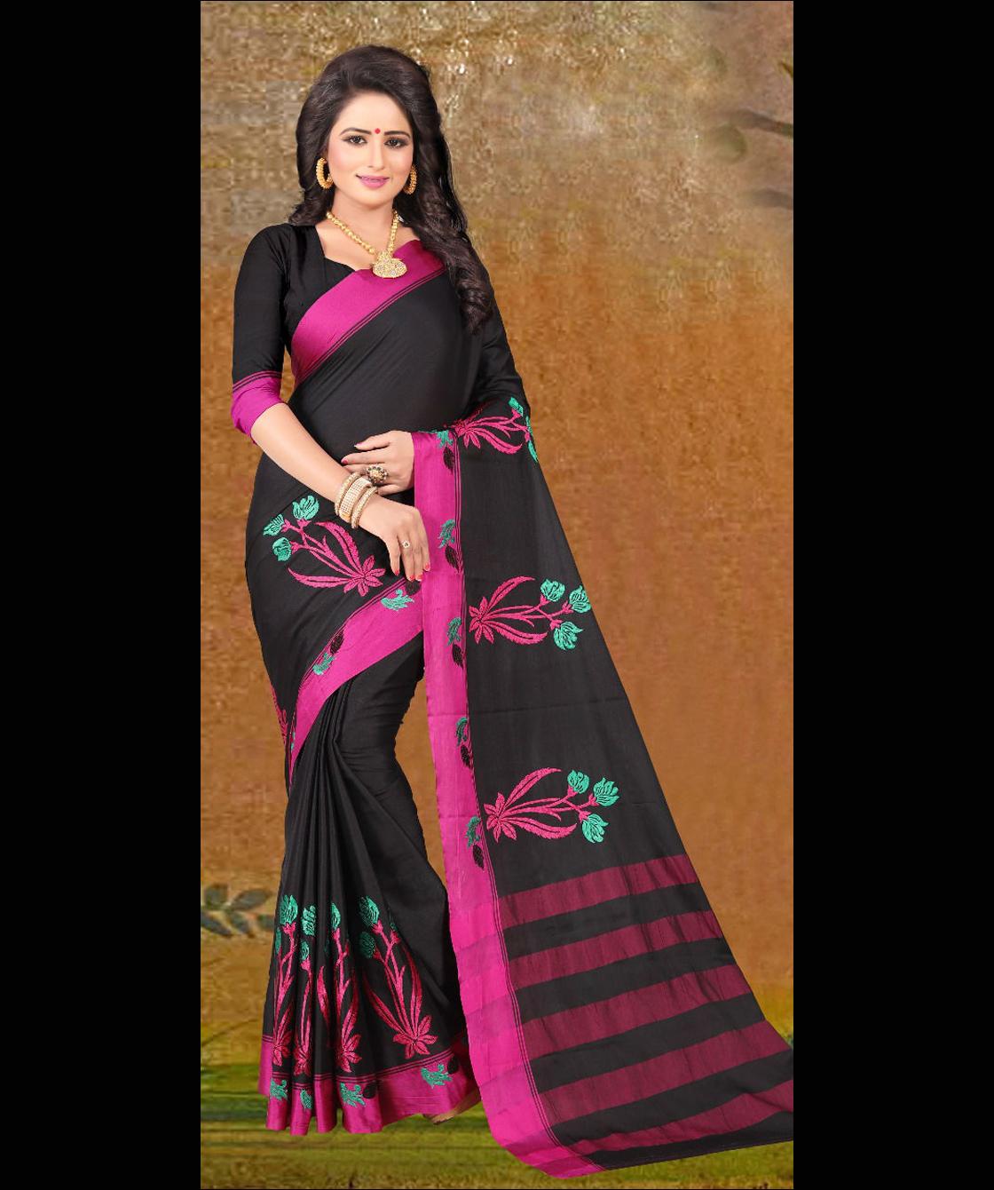 New Designer Embroidered Silk Saree
