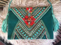 Green Colored vintage Lace Bag