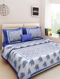 Elephant Print White Double Bedsheet