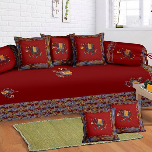 Red Patch Work Diwan Set