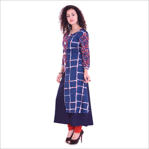 Blue Cotton Sleeve Kurti