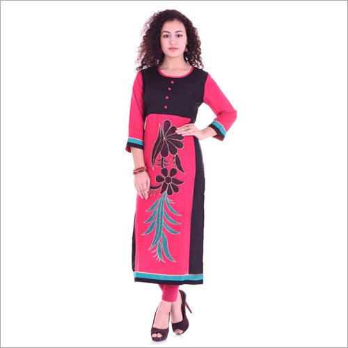 Pink Colour Cotton Sleeve  Kurti