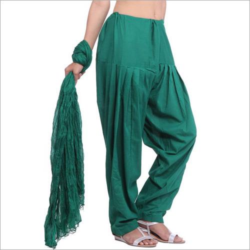 Cotton Full Patiala Green Salwar Dupatta