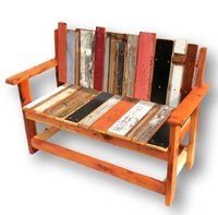 Reclaimed solid wood rustic multicolor outdoor bench