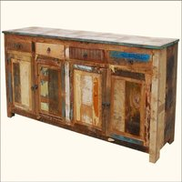 Reclaimed solid wood 4 drawers and 2 doors storage sideboard cabinet