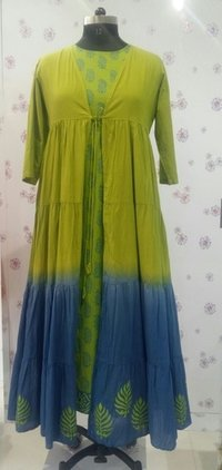 Yellow Embroidered Kurtis