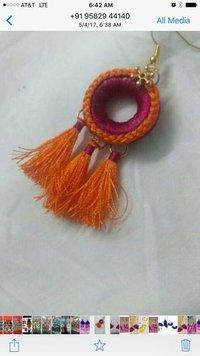Earring silk tassel