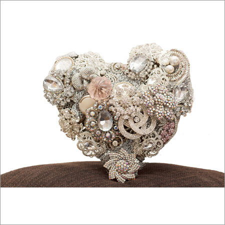 Heart Shape Bouquet with Silver Base and Iridescent Accents
