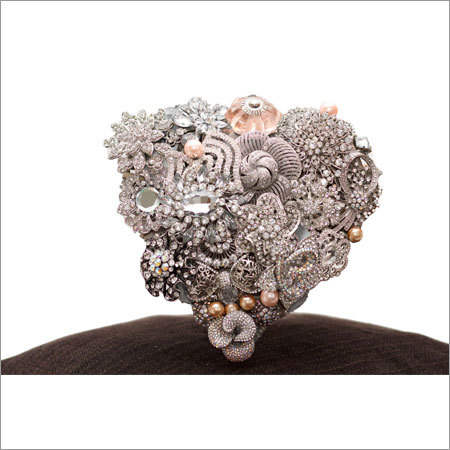 Heart Shape Bouquet with Silver Base and Peach Accents