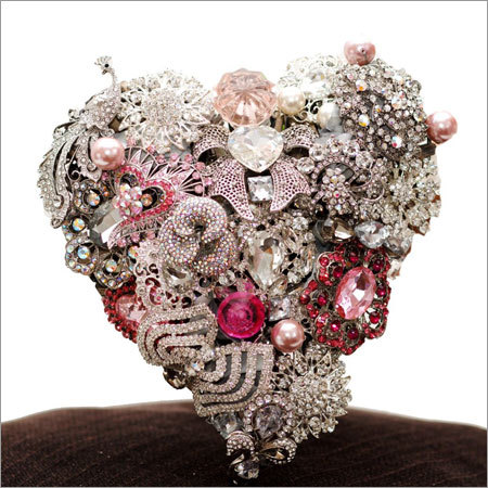 Heart Shape Bouquet with Silver Base and Pink Accents
