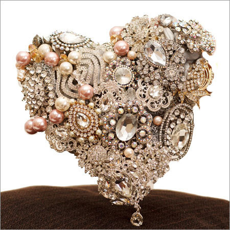 Heart Shape Bouquet with Silver Base