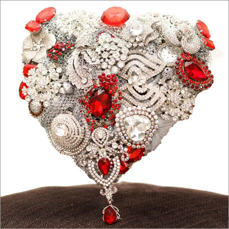 Heart Shape Bouquet with Silver Base and Red Accents