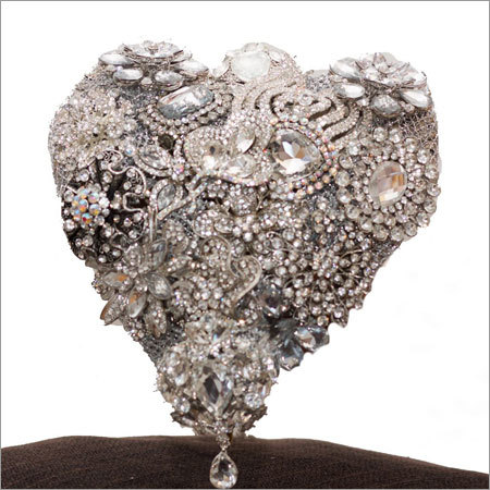 Heart Shape Bouquet with Silver Base and Silver Accents