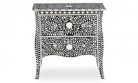 Luxurious Handmade mother of pearl 2 drawers bedside table