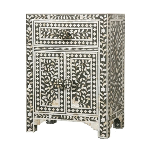 Indian Handmade Floral Design Mother Of Pearl 1 Drawer And Door Bedside Cabinet
