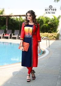 RAYON PRINTED KURTI FOR PARTY WEAR