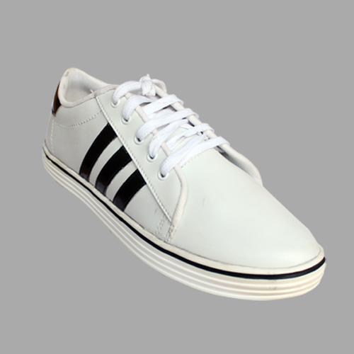 Mens White Flat Casual Shoe