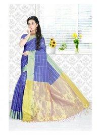 Blue Cotton Silk Zari Designer Saree