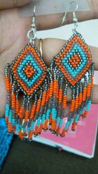 Diamond Shaped Beaded Earrings
