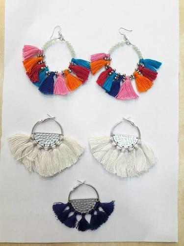 Colourful silk thread earrings