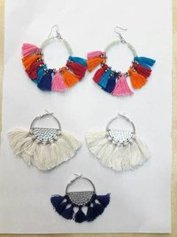 Colourful silk thread earrings