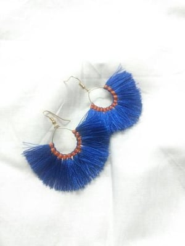 Blue silk thread tassels