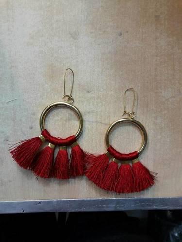 Embroidery Thread Tassel Earrings Embroidery Thread Tassel