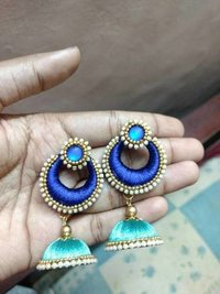 Silk Thread Chandbali Jhumka Earrings