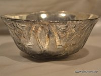SILVER BOWL, GLASS FOOTED BOWL