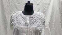 Ladies Cotton White Embroidery Kurti