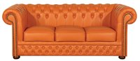 Top Grain Leather 3 Seater Chesterfield Sofa