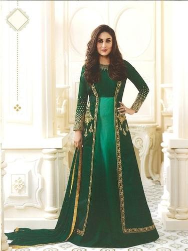 Kareena Kapoor Green Art Silk Anarkali Suit