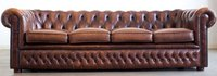 Top Grain Leather 4 Seater Chesterfield Tufted Backrest Sofa