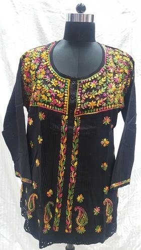 Ladies Cotton Embroidery Black Kurti / Top