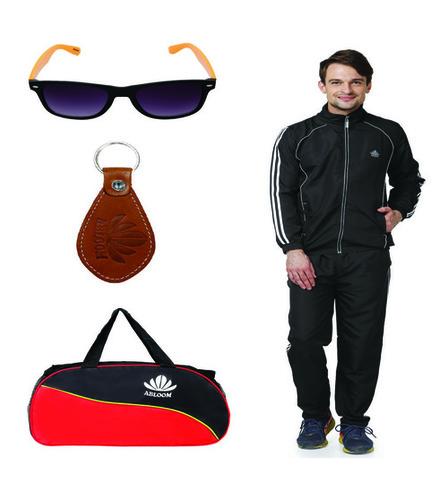 Track suit & Duffle bag Combo( Black & Blue )